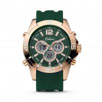 Colori Horloge Urban staal/siliconen rosé-groen 47 mm 5-CLD077  1