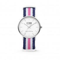 CO88 Horloge staal/nylon blauw/wit/roze 36 mm 8CW-10029  1