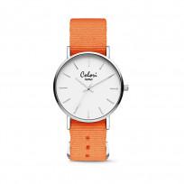 Colori XOXO 5 COL555 Horloge geschenkset met Armband - Nato Band - Ø 36 mm - Oranje / Zilverkleurig  1