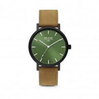 Frank 1967 7FW 0008 Horloge staal/leder bruin-groen 42 mm 1