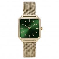 Cluse CW0101207013 Horloge La Tetragone Mesh goudkleurig-groen 29 mm 1