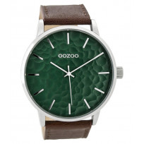OOZOO C9441 Horloge staal/leder Brown-Green 48 mm 1