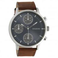 OOZOO C10665 Horloge Timepieces staal/leder bruin-blauw 50 mm 1