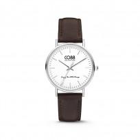CO88 Horloge staal/leder 36 mm zilver/donkerbruin 8CW-10004 1