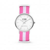 CO88 Horloge staal/nylon wit/roze 36 mm 8CW-10025  1