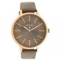 OOZOO C10567 Horloge Timepieces staal/leder rosekleurig-taupe 45 mm 1