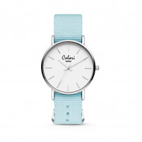 Colori XOXO 5 COL545 Horloge geschenkset met Armband - Nato Band - Ø 36 mm - Licht Blauw / Zilverkleurig  1