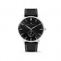 Kaliber 7KW-00002 Horloge met lederen band zwart-zilverkleurig 40 mm 1
