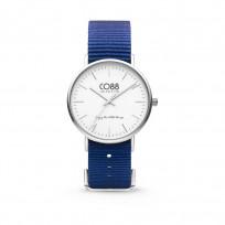 CO88 Horloge staal/nylon 36 mm zilver/donkerblauw 8CW-10016 1