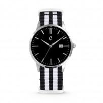Colori Horloge Connaisseur staal/nylon zwart-wit 40 mm 5-COL498  1
