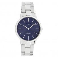 OOZOO C20041 Horloge Vintage staal zilverkleurig-blauw 34 mm 1