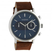 OOZOO C10670 Horloge Timepieces staal/leder bruin-blauw 50 mm 1