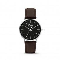 CO88 Horloge staal/leder 36 mm zilverkleurig/zwart 8CW-10006 1
