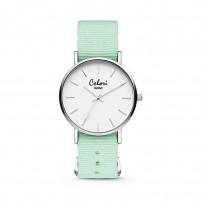 Colori XOXO 5 COL547 Horloge geschenkset met Armband - Nato Band - Ø 36 mm - Mint Groen / Zilverkleurig  1