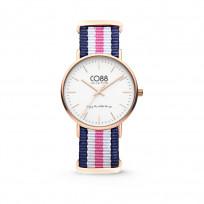 CO88 Horloge staal/nylon rosé/blauw/wit/roze 36 mm 8CW-10030 1
