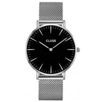 CLUSE Horloge La Boheme mesh zilverkleurig-zwart CW0101201004  1