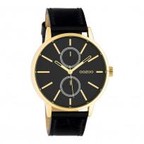 OOZOO C10589 Horloge Timepieces staal/leder goudkleurig-zwart 42 mm 1