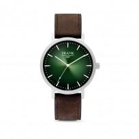 Frank 1967 7FW 0022 Horloge staal/leder zilverkleurig-groen 42 mm 1