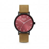 Frank 1967 7FW 0006 Horloge staal/leder bruin-rood 42 mm 1