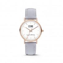 CO88 Horloge staal/leder 36 mm rosé/lichtblauw 8CW-10003  1