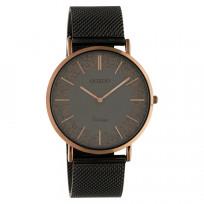 OOZOO C20139 Horloge Vintage Mesh staal titaniumgrijs-bruin 40 mm 1