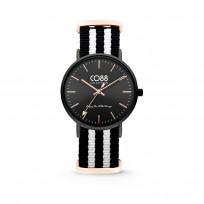 CO88 Horloge staal/nylon zwart/wit 36 mm 8CW-10036 1