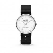 CO88 Horloge staal/nylon zwart/wit 36 mm 8CW-10023  1