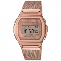 Casio horloge A1000MPG-9EF Meshband Vintage rosekleurig 38 mm 1