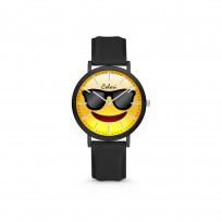 Colori Essentials Smile 5 CLK116 Kinderhorloge - Zonnebril -  Siliconen band - Ø 30 mm - Zwart 1
