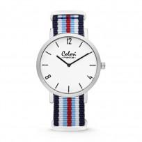 Colori Horloge Phantom staal/nylon rood-wit-blauw 42 mm 5-COL490 1