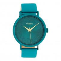 OOZOO C10581 Horloge Timepieces aluminium/leder viridian green 42 mm 1