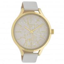 OOZOO C10085 Horloge Timepieces Collection staal/leder goudkleurig-wit 44 mm 1