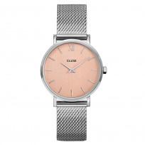 CLUSE CW0101203029 Horloge LA Boheme Mesh zilver- en rosekleurig 33 mm 1