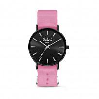 Colori XOXO 5 COL558 Horloge geschenkset met Armband - Nato Band - Ø 36 mm - Roze / Zwart  1