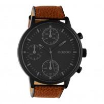 OOZOO C10533 Horloge Timepieces staal/leder bruin-zwart 50 mm 1