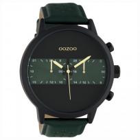 OOZOO C10517 Horloge Timepieces staal/leder green-black 50 mm 1