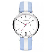 Zinzi horloge Retro Streep staal/leder blauw-zilverkleurig ZIW406BS 1
