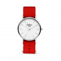 Colori XOXO 5 COL553 Horloge geschenkset met Armband - Nato Band - Ø 36 mm - Rood / Zilverkleurig  1