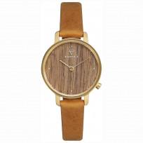 Kerbholz 4251240411682 Horloge Hout/Leder Emma Walnut-Mustard 30 mm 1