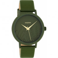OOZOO C10608 Horloge Timepieces aluminium/leder olivegreen 36 mm 1