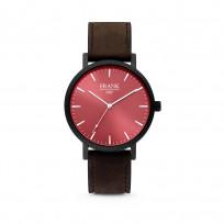 Frank 1967 7FW 0010 Horloge staal/leder rood-donkerbruin 42 mm 1