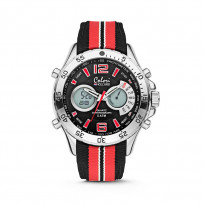 Colori horloge Holland Sports staal/nylon rood-zwart-wit 48 mm 5-CLD131  1