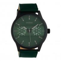 OOZOO C10537 Horloge Timepieces staal/leder zwart-groen 48 mm 1