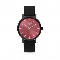 Frank 1967 7FW 0002 Horloge staal/leder zwart-rood 42 mm 1