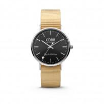 CO88 Horloge staal/nylon zilver/zwart/zandbruin 36 mm 8CW-10038 1
