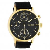 OOZOO C10531 Horloge Timepieces staal/leder goudkleurig-zwart 50 mm 1