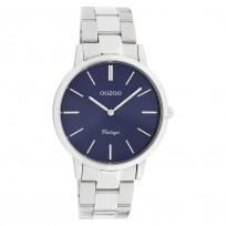 OOZOO C20029 Horloge Vintage staal zilverkleurig-blauw 38 mm 1