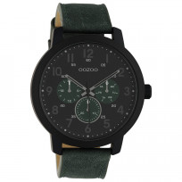 OOZOO C10508 Horloge Timepieces staal/leder green-black 45 mm 1