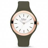 Colori 5-COL502 Horloge Macaron staal/siliconen rosé-olijfgroen 44 mm 5-COL502  1