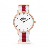 Colori Horloge Phantom staal/nylon rood-wit 42 mm 5-COL492 1